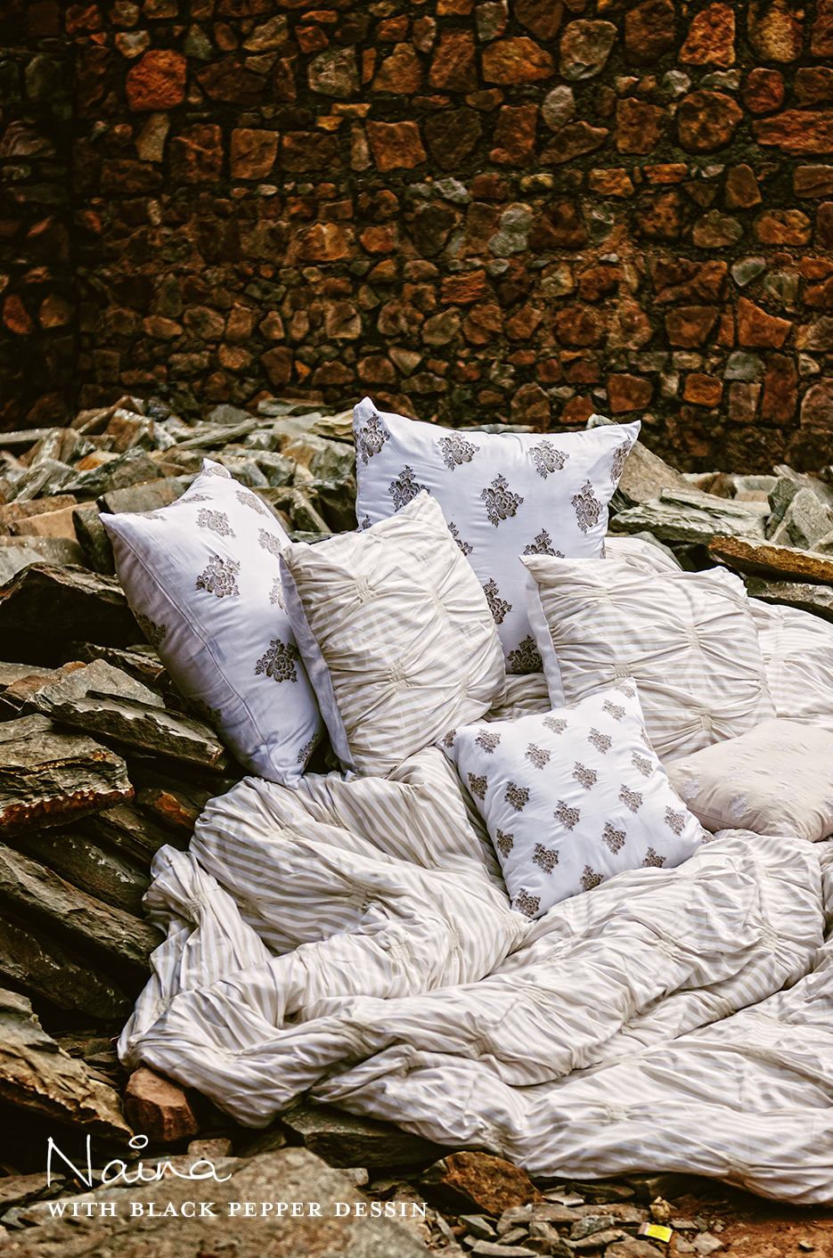 Black Pepper Dessin | Tableware, Cushions & Bed Linen. Photography by professional Indian lifestyle photographer Naina Redhu of Naina.co