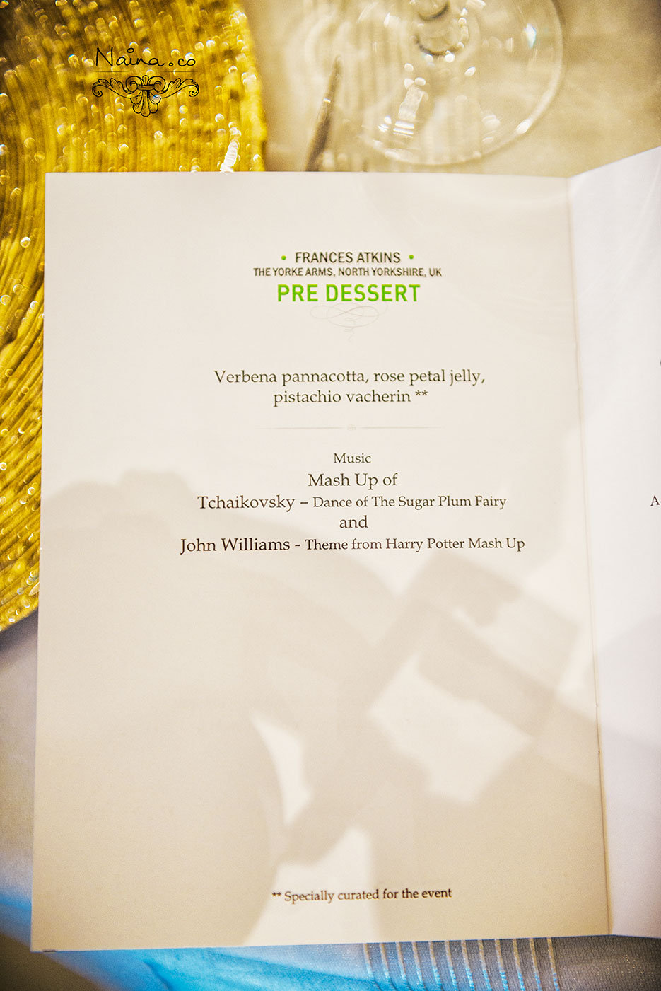 Menu by Michelin Star Chefs for the CSSG Gastronomy Summit 2012, New Delhi, India. Laurie Gear, Ian Curley, Vineet Bhatia, Frances Atkins, Marcello Tully, Anjum Anand. Food Photography by photographer Naina Redhu of Naina.co