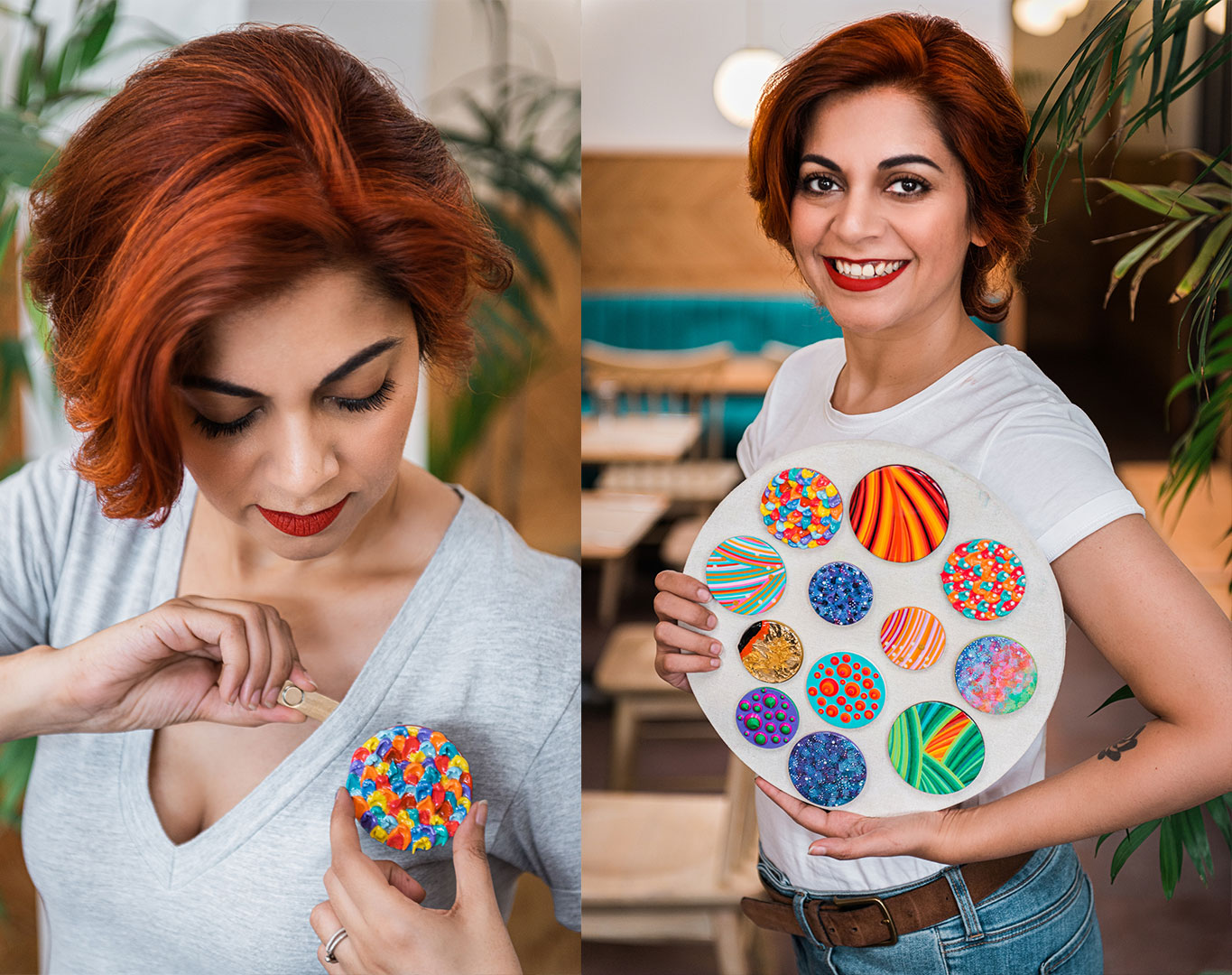 brooches, hand painted brooches, art jewellery, wearable art, unique edition, limited edition, wooden brooches, khaosphilos, artbynaina, naina redhu, naina.co, naina brooches, circular brooches, round brooches