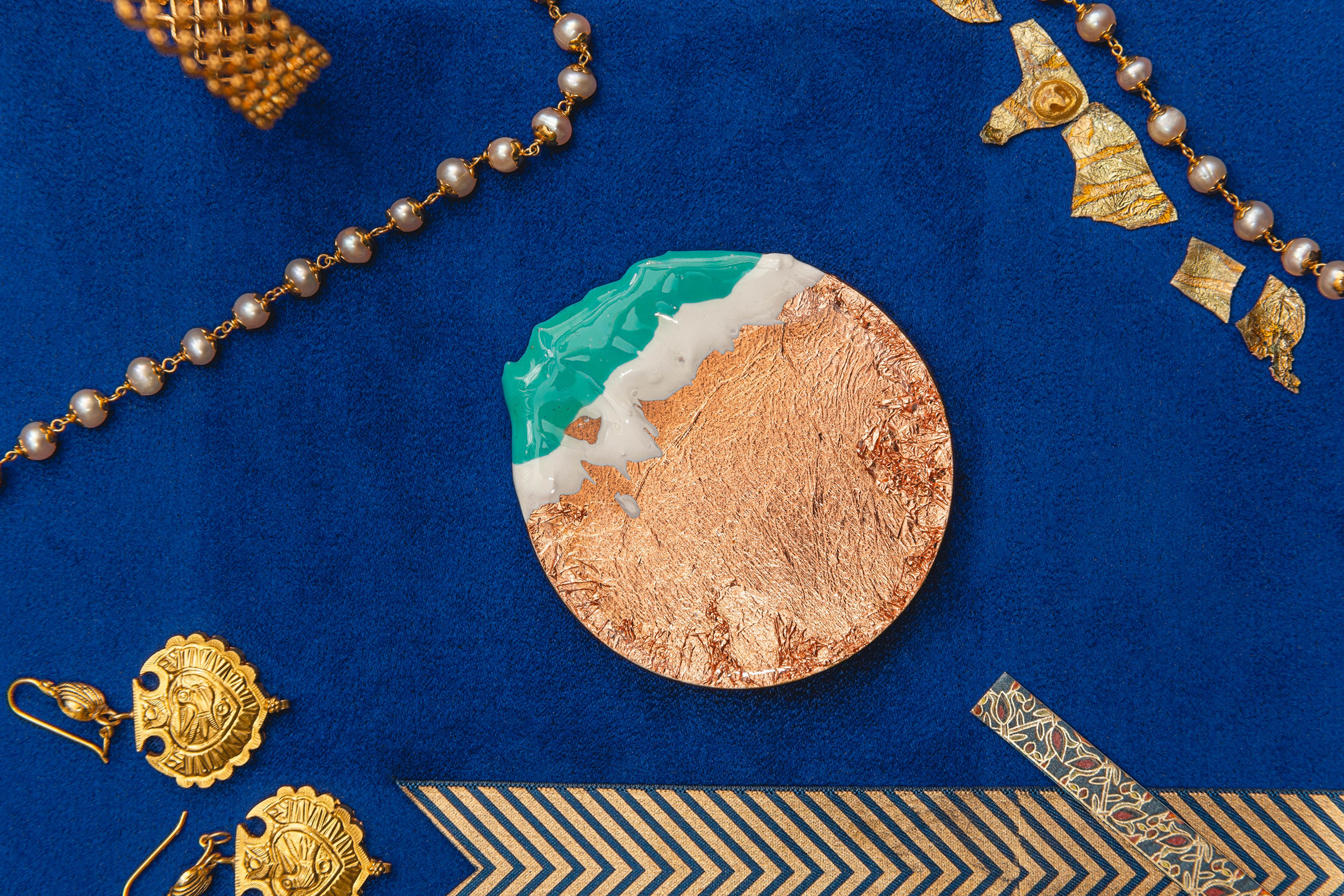 khaosphilos, dipped, diwali, festive, gold, silver, copper, hand painted, hand made, made in india, madeinindia, art, art by naina, naina.co, naina redhu, artist, contemporary art, gold foil, copper foil, silver foil, brooches, wooden, painting on wood, magnet clasp, canvas, wearable art, art jewellery, art accessories, art accessory
