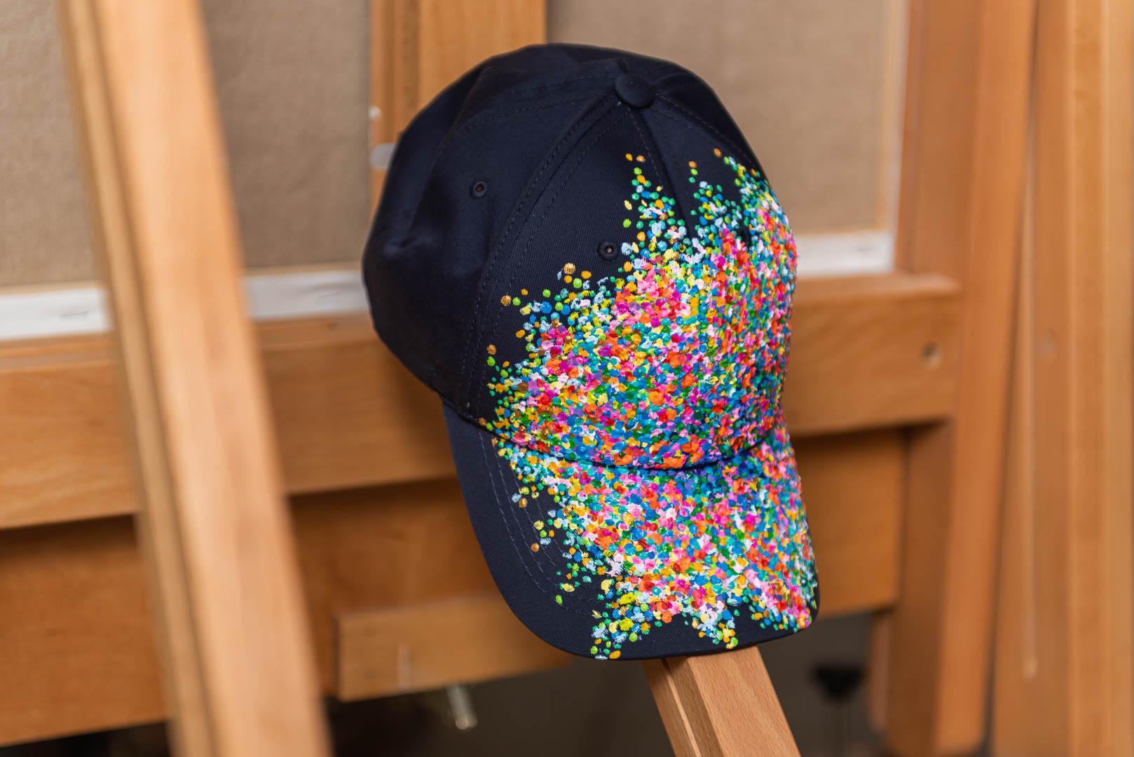 hand painted baseball hat, hand painted baseball cap, cap, hat, abstract, garden, impressionist painting, impressionism, indian artist, wearable art, dots, pointillism, khaosphilos, khaos philos, naina redhu, naina.co, painted by naina, art by naina, contemporary indian artist,