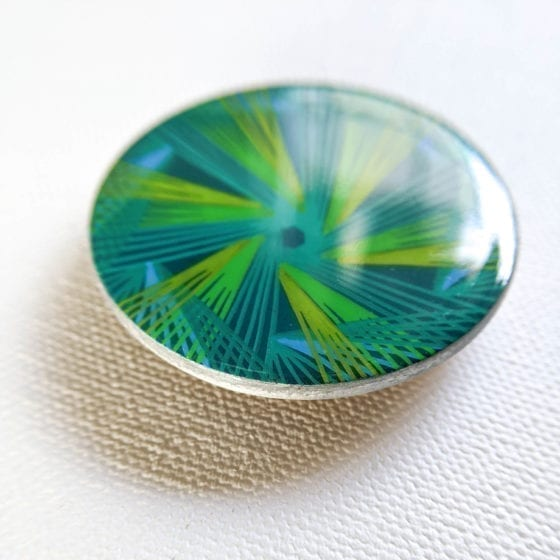Aurora, Aurora Borealis Brooch, 2 Inches Diameter, line art, line work, northern lights, Naina.co, Naina Redhu, KhaosPhilos, colorful, wearable art brooch, wooden brooch, wear a painting, wearapainting, wearableart, wear art, art i can wear, art you can wear, acrylic painting, hand painted, indian artist, indian female artist, contemporary art, modern artist, indian contemporary art, indian contemporary artist, contemporary art india, impressionism in india