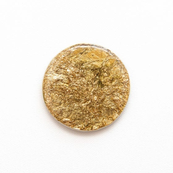 Gold Guild, gold foil, gold, 2.5 Inches Diameter, Naina.co, Naina Redhu, KhaosPhilos, colorful, wearable art brooch, wooden brooch, wear a painting, wearapainting, wearableart, wear art, art i can wear, art you can wear, acrylic painting, hand painted, indian artist, indian female artist, contemporary art, modern artist, indian contemporary art, indian contemporary artist, contemporary art india
