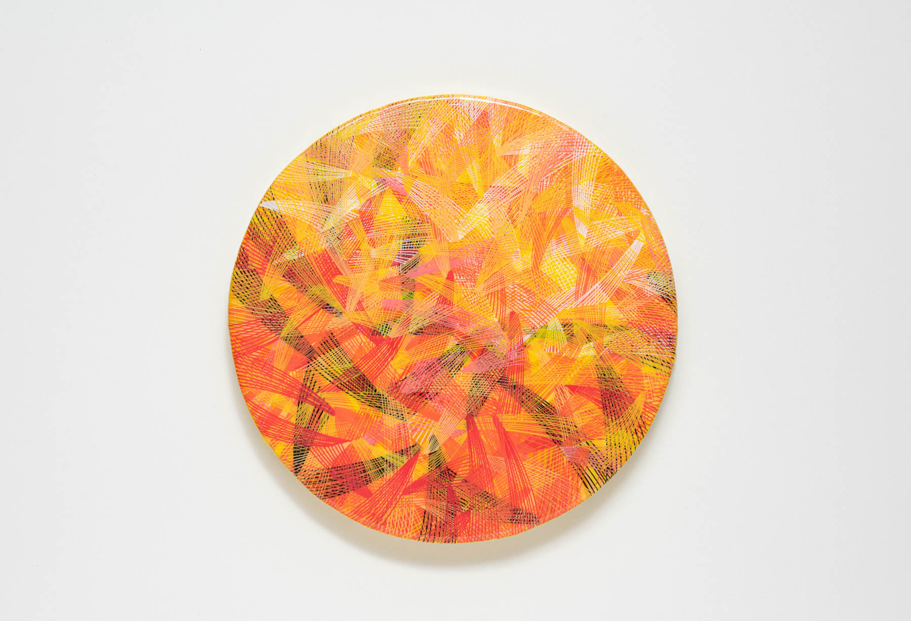 newsprint, tangerine, edition, newsprint tangerine edition, 8 inches diameter, circular canvas, naina redhu, naina.co, khaosphilos, handpainted, hand-painted, hand painted, indian contemporary art, indian contemporary artist, round canvas, acrylics on canvas, fine art, impressionism, hatching, stippling, line art, geometric abstraction, yellow, orange, lines, black, white, madeinindia, makeinindia, khaos philos, make in india, made in india, handmade in india, handmadeinindia, canvas painting, painting, art indian art, art in india, indian artist