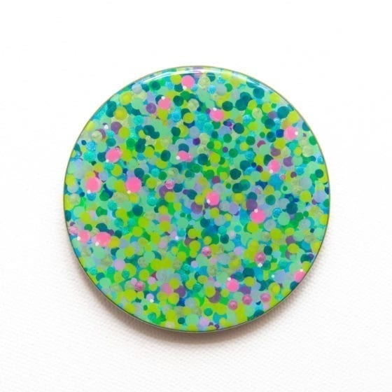 lotus pond, lotus, lilies, water lilies, monet, impressionism, dots, daubs, impressionist, 3 Inches Diameter, Naina.co, Naina Redhu, KhaosPhilos, colorful, wearable art brooch, wooden brooch, wear a painting, wearapainting, wearableart, wear art, art i can wear, art you can wear, acrylic painting, hand painted, indian artist, indian female artist, contemporary art, modern artist, indian contemporary art, indian contemporary artist, contemporary art india