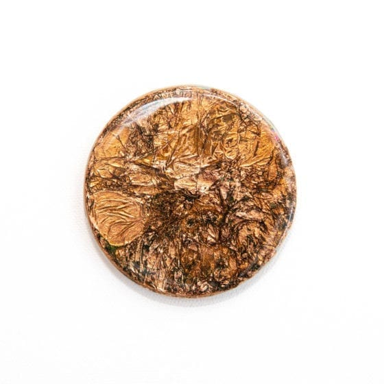 sealed from patina, copper, copper foil, metallic, 3 Inches Diameter, Naina.co, Naina Redhu, KhaosPhilos, colorful, wearable art brooch, wooden brooch, wear a painting, wearapainting, wearableart, wear art, art i can wear, art you can wear, acrylic painting, hand painted, indian artist, indian female artist, contemporary art, modern artist, indian contemporary art, indian contemporary artist, contemporary art india