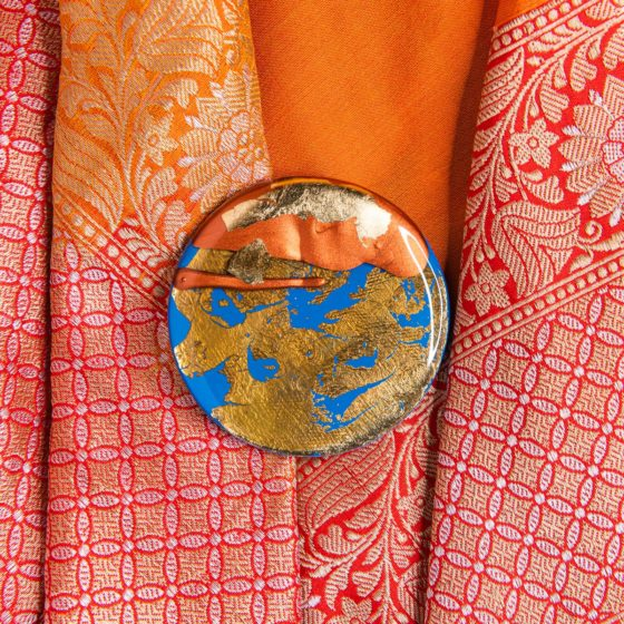 In Time, Resurrection, Diwali 2020, Diwali Art, Wearable Art, Diwali Brooches, Naina Redhu, Naina, Naina.co, Landscape of Memories, Fragmented Lives, Rebuild, Shiny Plans, Dreams, Human Nature, Healing, Gold Foil, Copper Foil, Layered, Layers, Acrylics On Wood, Contemporary Art, Indian Artist, Contemporary Indian Artist, Wooden Brooches, Hand-Painted Brooches, Made In India, Make In India, Handmade, Hand Crafted, One Of A Kind, OneOfAKind, Diwali In India, Unique Accessories, Handmade Jewellery